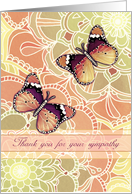 Thank you for your sympathy, butterflies, floral patterns, peach, gold card