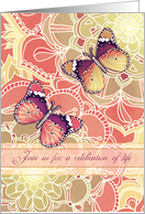 Celebration of life, memorial invitation, butterflies, flowers card