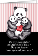 Panda with babies & red heart, Mother's Day, for my daughter. card
