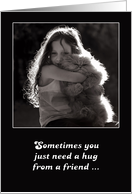 Thinking of you, hug from a friend, cute fluffy cat and little girl. card