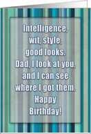 Happy Birthday, for Dad, humor, typography, blue, green, teal stripes. card