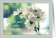 Thank you for your sympathy, white daisies, chevron, mint, green. card