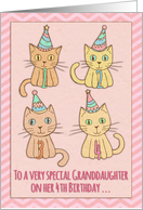 Happy 4th Birthday, for granddaughter, cute cat illustrations, pink card