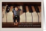 Good Luck on your recital / music exam, cute baby on keyboard card