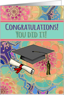 Congratulations on graduation! You did it! Cute, girly, doodle pattern card