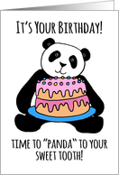 Cute Panda Birthday Card, cake, frosting, for your sweet tooth! card