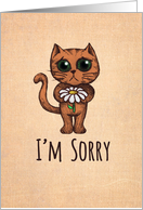 I'm sorry, please forgive me, cute sad cat with yellow & white daisy card
