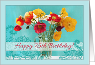 Happy 75th Birthday! Beautiful poppies in vase, aqua floral doodles card