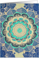 Floral tangle doodle flower in navy, mint green, gold, blank card. card
