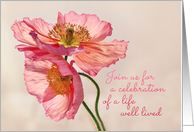 Celebration of life invitation, pink & peach poppy photo on cream card