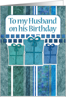 Happy Birthday to my husband, gifts, stripes, blue, grey, white & teal card