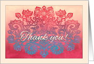 Thank you! Ombre peach, coral, cream & turquoise blue floral doodle card