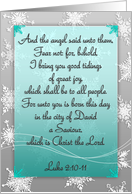 Christian scripture Christmas card, The angel said, snowflakes, mint card