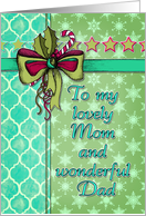 Christmas card for Mom & Dad, ribbon, snowflakes, holly, candy cane card