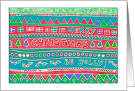 Merry Christmas, be jolly! Chalk pastel tribal doodle patterns, colors card