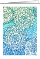 Blue & green abstract floral mandala doodle blank note card