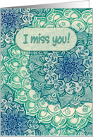 Funny I miss you card, emerald green, navy blue floral doodles card