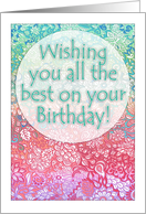 Happy Birthday - Pastel Rainbow Doodle Tangle style card