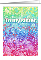Happy Birthday, Sister - Rainbow Doodle tangle style card
