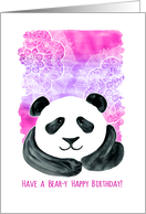 Have a Bear-y Happy Birthday - pink & purple watercolor panda card