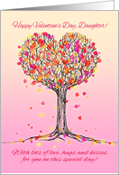 Happy Valentine's Day, Daughter! Cute pink heart tree illustration card