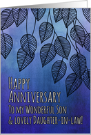 Happy Anniversary, Son & Daughter-in-law, blue watercolor, leaves card