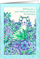 Wishing you a purr-fectly marvelous 7th birthday! Cute cat doodle. card