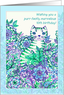 Wishing you a purr-fectly marvelous 10th birthday! Cute cat doodle. card