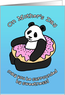 Happy Mother's Day, cute panda & sweet pink donut cartoon illustration card