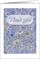 Thank you! Purple, navy & cream Moroccan floral doodle pattern card