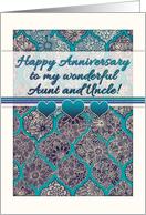 Happy Anniversary to my Aunt & Uncle! Teal Moroccan floral pattern card