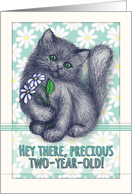 Happy 2nd Birthday, cute kitten with daisies, pencil illustration card