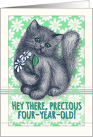 Happy 4th Birthday, cute kitten with daisies, pencil illustration card