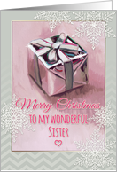 Merry Christmas to my wonderful Sister, gift painting, snowflakes card