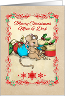 Merry Christmas Mom & Dad, cute mouse illustration, love, joy & pie! card