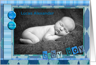 Birth announcement, baby boy, photo card, scrapbook style. card