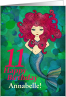 11th Birthday, Cute Mermaid with pink hair, customizable front text card