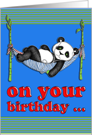 Birthday card, cute panda listening to music, relaxing in hammock. card