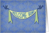 Welcome Home, little birds holding a ribbon banner, pattern background card