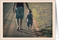 Encouragement card, religious, baby walking on road with father card