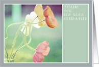 Thank you for your sympathy ... with beautiful poppies, peach, mint. card