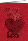 Happy Valentine's Day Etched Look Red Love Heart and Roses card