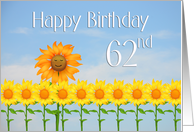 Happy 62nd Birthday, Sunflowers and sky card
