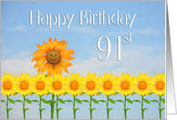 Happy 91st Birthday, Sunflowers and sky card