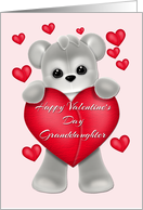 Valentine Teddy Granddaughter, Red Hearts card