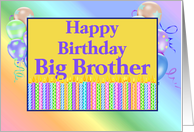 Big Brother Birthday, candles, balloons card