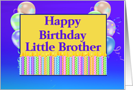 Little Brother Birthday, candles, balloons card