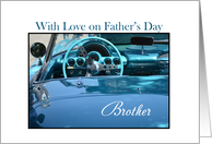 Father's Day Brother, Blue Car on white card
