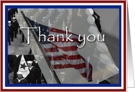 Thank you, Sailors background with American flag over card