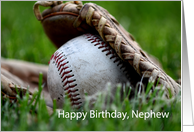 Happy Birthday, Nephew, baseball in glove card
